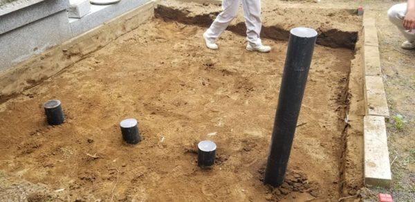 墓所 地盤改良 杭打ち